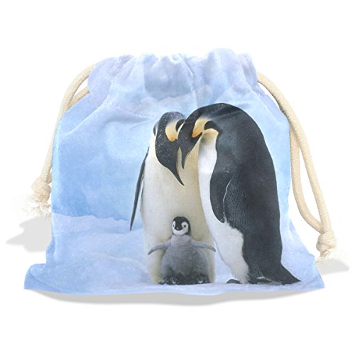 WHBAG Velvet Drawstring Gift Bag,Animal Family Antarctic Penguins,Wrap Present Pouches Favor for Jewelry,Coin,Holiday,Birthday,Party,5.5x5.5 (Navy Stripe Favor Cards)