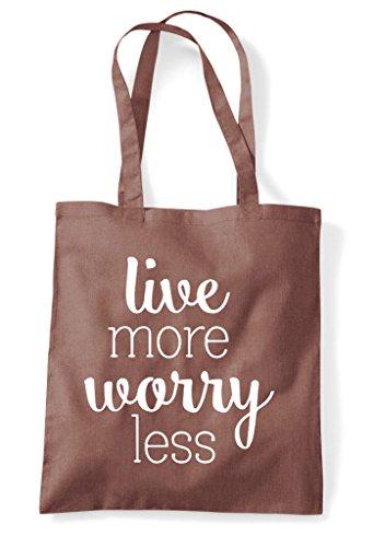 Shopper Bag Live Less Tote More Chestnut Worry a0w4qPR