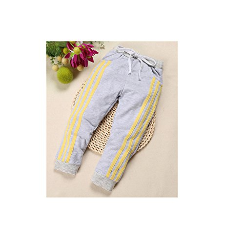 Top Shop US Boys/Girls Kids Striped Drawstring Casual Leggings Pants Trousers,Gray,140 (Baby First Tv Growth Chart)