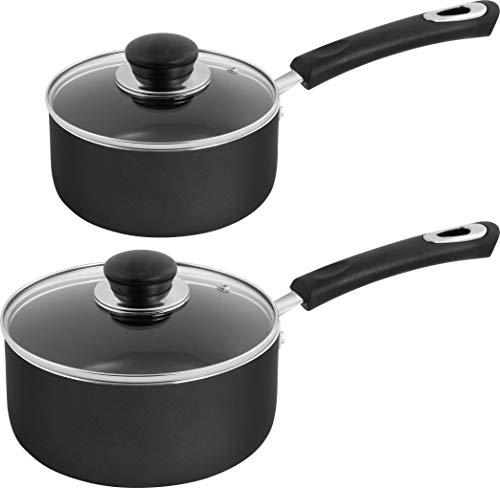 Utopia Kitchen Nonstick Saucepan Set – 1 Quart and 2 Quart – Glass Lid – Multipurpose Use for Home Kitchen or Restaurant…