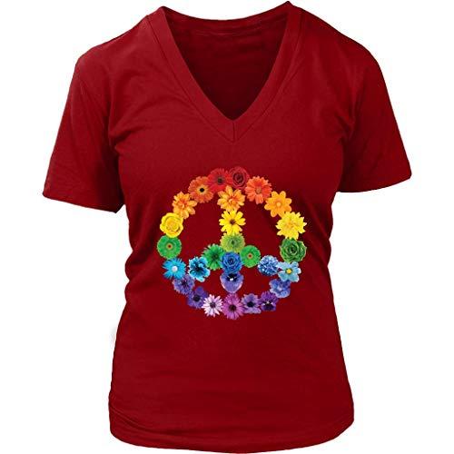 Spring Flowers Peace Sign T-Shirt Daisies Roses Rainbow - Womens Plus Size Up to 4X