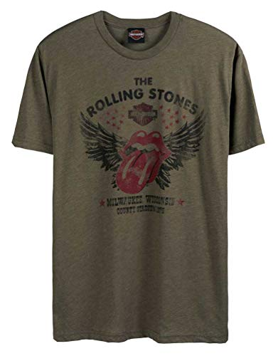 Harley-Davidson Men's Rolling Stones Winged Short Sleeve Crew Tee - Green (XL)