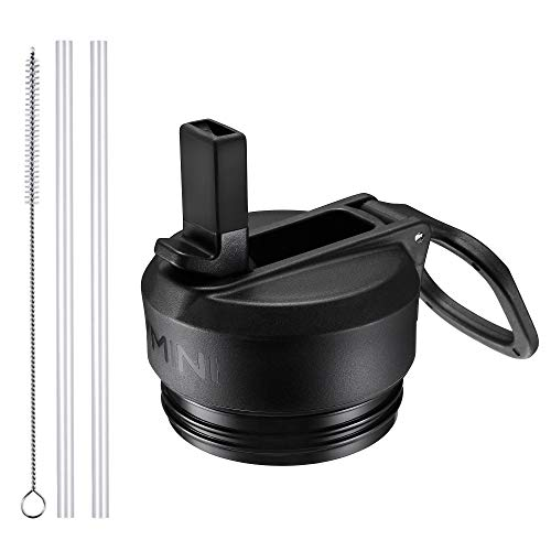Vmini Straw Lid/Cap, Compatible with YETI Lid, RTIC Bottle Lid and More, Wide and Rotating Handle, Including Straws and Brush – Black