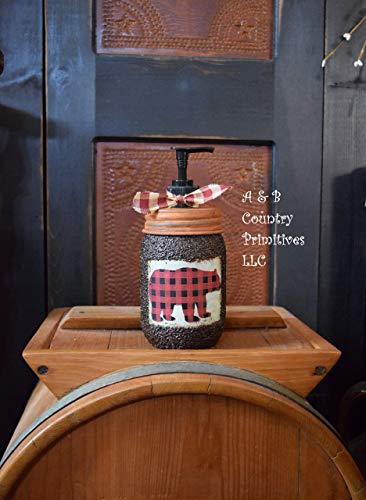 Buffalo Plaid Bear Mason Jar Soap Dispenser, Grubby Mason Jar with Soap Pump, Rustic Cabin Decor, Rustic Bear Themed ()