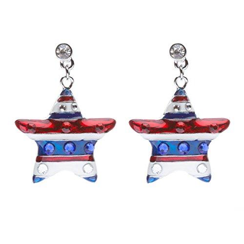 Crystal Patriotic Star - Patriotic American Flag Crystal Rhinestone Sparkle Star Dangle Earrings Silver