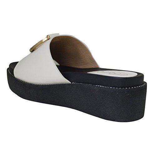 New Ladies Mid Wedge Lowheel Diamante Flatform Sandal White fVx2q