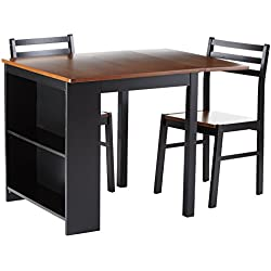 Persia 3-piece Breakfast Dining Set Brown and Black