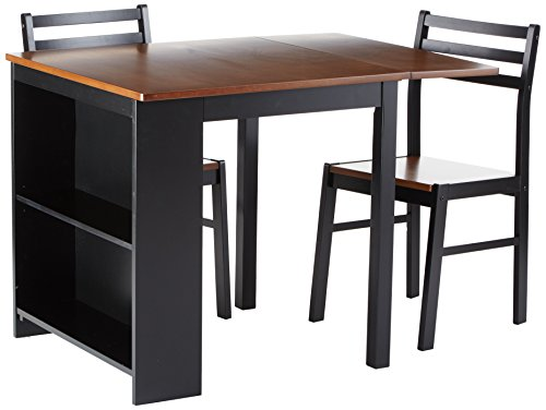 Coaster Home Furnishings 130015 Casual Dining Room 3 Piece Set, Walnut and Black (3 Set Piece Breakfast Dining)
