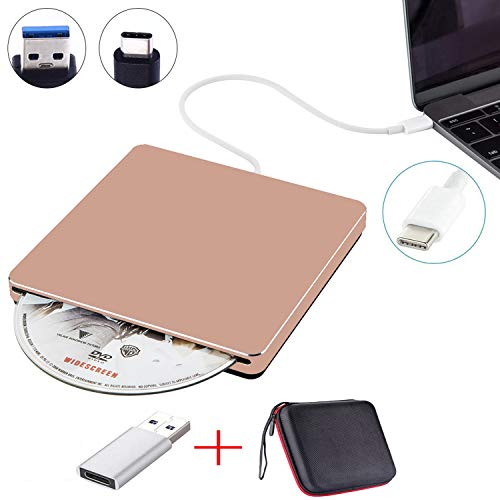NOLYTH External DVD Drive USB C Slot-in External CD Player Burner Drive for Laptop/Mac/Macbook Pro/Air/Windows made with Alumium Alloy supported DVD