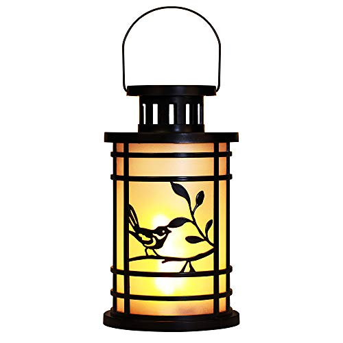 tive with Flickering Flameless LED Candles,9.44'' Vintage Hanging Lanterns Battery Powered,Rustic Indoor Antique Lantern Candle Holder,Decor for Table Halloween Garden Patio Porch ()