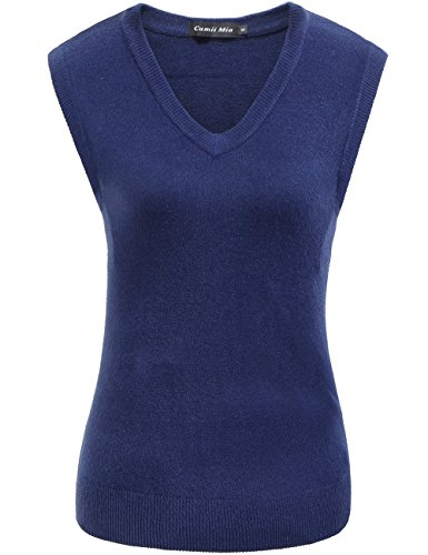 Camii Mia Women's Solid Knit Classic V Neck Sleeveless Pullover Sweater Vest (Medium, Navy)