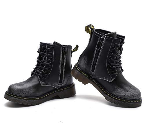 fa5c02baf DADAWEN Boys   Girls Waterproof Outdoor Side Zipper Lace-Up Leather ...