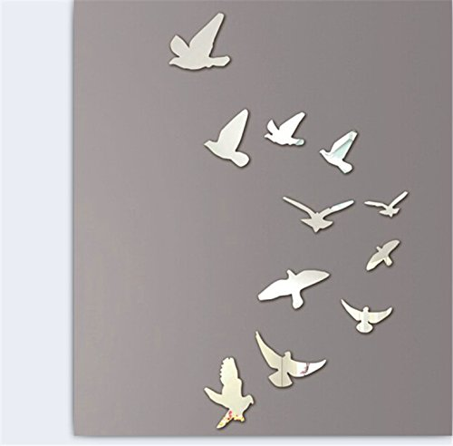 Flying Birds Stickers tattoos decor Silver product image