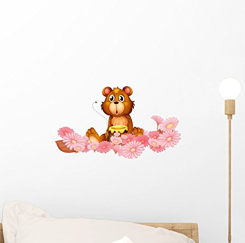 Wallmonkeys A Garden of Pink Flowers with a Bear Peel and...