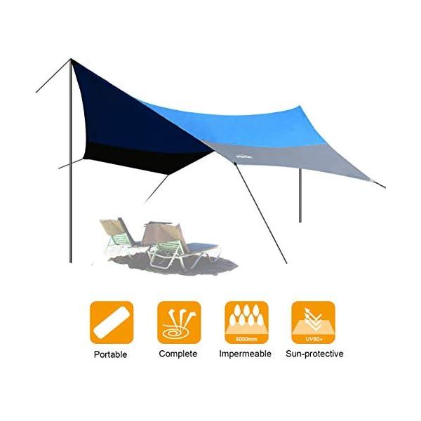 41fBSBouBkL OVERMONT 5m x 5m Sonnensegel Camping Plane wasserdichte Zeltplane Sonnenschutz Sun Shelter Außenzelt mit Zeltheringen…