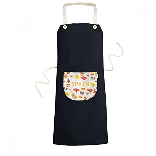 cold master DIY lab Spain Flamenco Music Food Cooking Kitchen Black Bib Aprons Pocket Women Men Chef Gifts by cold master DIY lab