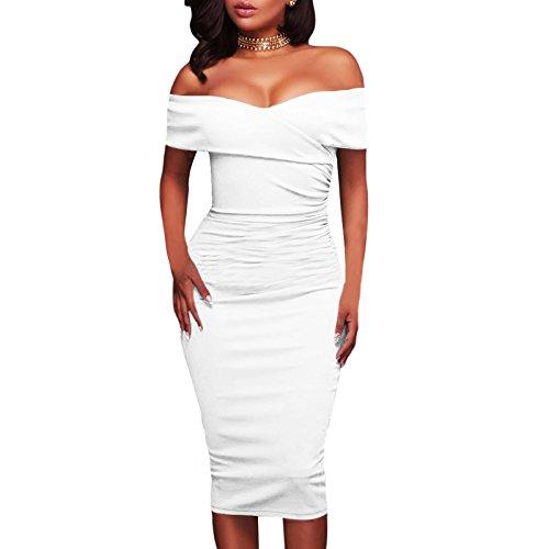 Toocool Damen Schlauchkleid Kleid Bianco