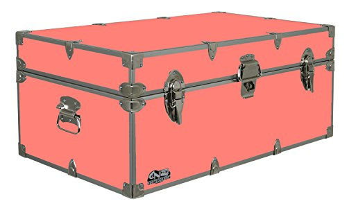 Footlocker Camp - C&N Footlockers Summer Camp Trunk Footlocker Happy Camper | Available in 20 Colors | Size: 32 x 18 x 13.5 Inches (Coral)