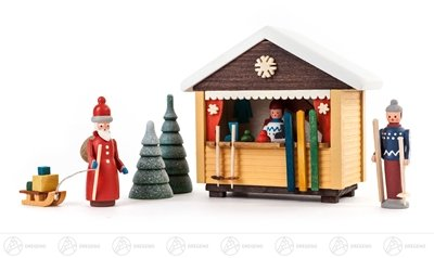 Miniature ski barrack with 2 figures and 2 Bäumchen (5) height of approx. 9 cm ore mountains Christmas figure wood figure (Großhandel Ski)