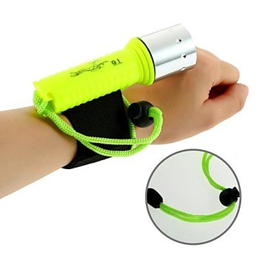 CREE XM-L T6 Rechargeable LED Waterproof Diving Flashlight Bracelet Dive Light (1600LM, 1x18650, Yellow)