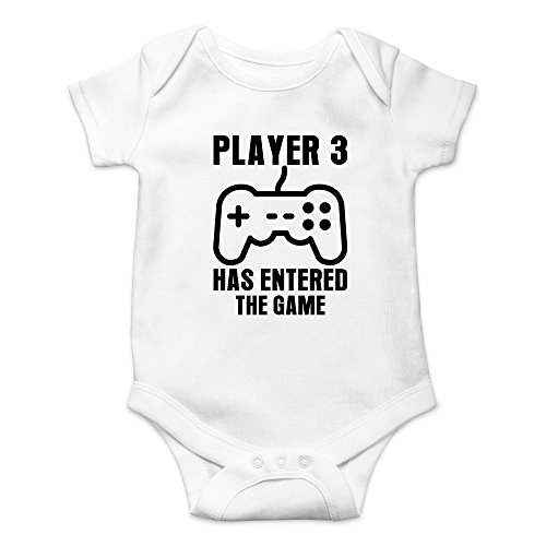 - Crazy Bros Tee's Player 3 Has Entered The Game - Gamer Baby Funny Cute Novelty Infant One-Piece Baby Bodysuit (Newborn, White)