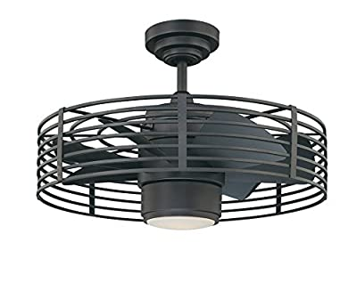 Kendal Lighting AC17723-NI Enclave 23-Inch Ceiling Fan, Natural Iron(Black) finish Motor and Blades with Integrated Light Kit