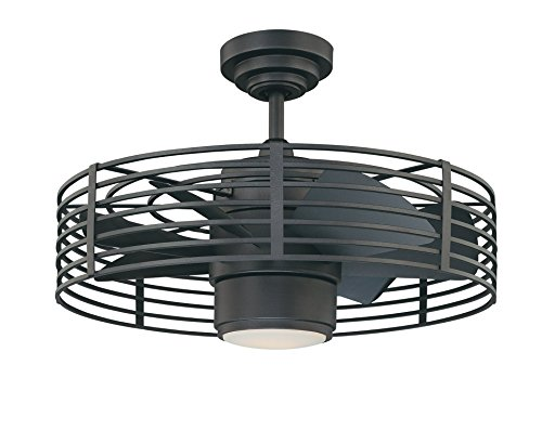 caged lighting. kendal lighting ac17723ni enclave 23inch ceiling fan natural ironblack finish motor and blades with integrated light kit caged p