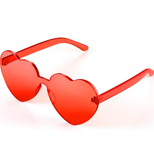 Maxdot Heart Shape Sunglasses Party Sunglasses (Light red)