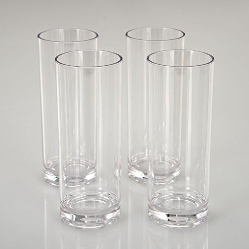 CITYPOINT 4 pcs, 12 OZ Crystal Clear Plastic Straight Cup, Restaurant Water Tumbler Beverage Cups Bar Beer Cup, Break-Resistant Plastic Cup by CITYPOINT (Image #3)