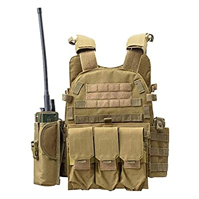 ESA Supplies Tactical Molle Airsoft Vest Paintball Combat Training Vest Soft Vest Tan with Triple Mag Pouch Intercom Pouch and Accessary Bag