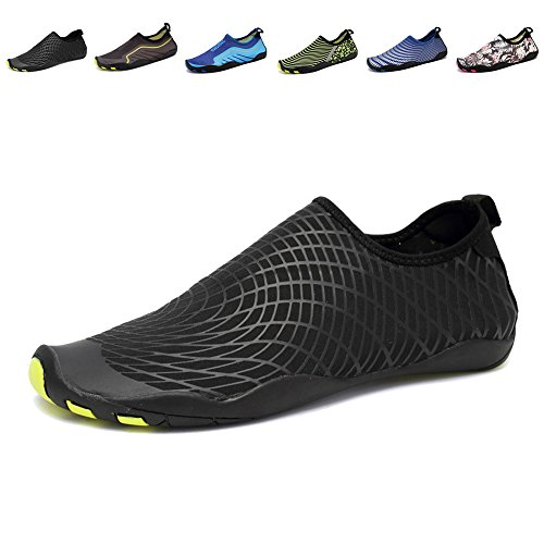 CIOR Men and Women's Barefoot Quick-Dry Water Sports Aqua Shoes with 14 Drainage Holes for Swim, Walking, Yoga, Lake, Beach, Garden, Park, Driving, Boating,SYY04,w.black,41