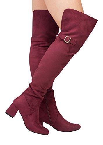 Cuisse suède femmes pour au en de faux Bottes ceinture genou bas Boucle Bloc x7w4BIqt