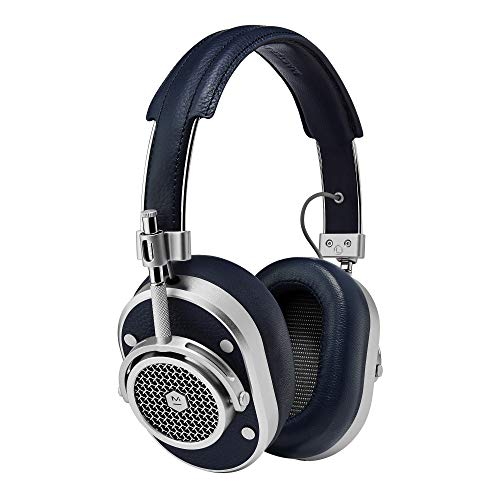 Master & Dynamic MH40 Premium Over-Ear Headphones, Award-Winning Closed-Back Wired Headphones with Superior Sound Quality, Silver Metal/Navy Leather