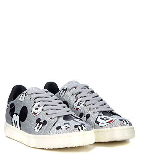 Moa Master of Arts Women's Shoes Leather Trainers Sneakers Black Silver KsHsx