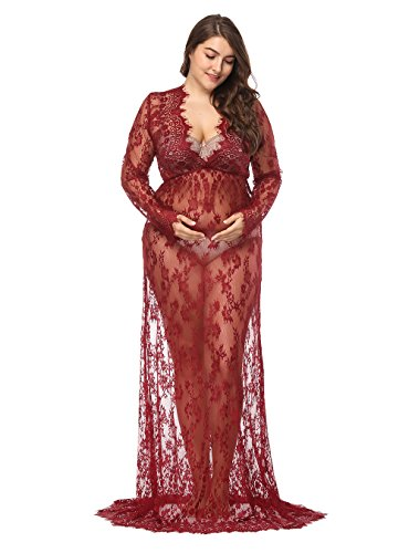 JustVH Maternity Sexy Deep V Neck Lace See-Through Gown Maxi Photography Dress Plus Size