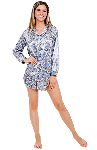 - Alexander Del Rossa Womens Satin Nightshirt, Boyfriend Style Sleepshirt with Mask, Medium Blue and Gold Paisley on Grey (A0746P94MD)