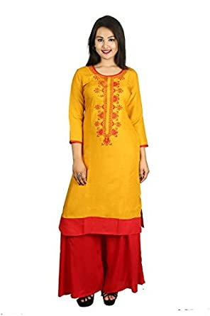 e0cbbeae4c5 Snapdeal Women s Kurti Cotton s casual fromal Ethnic full stitched Round  Neck Knee-Long (D