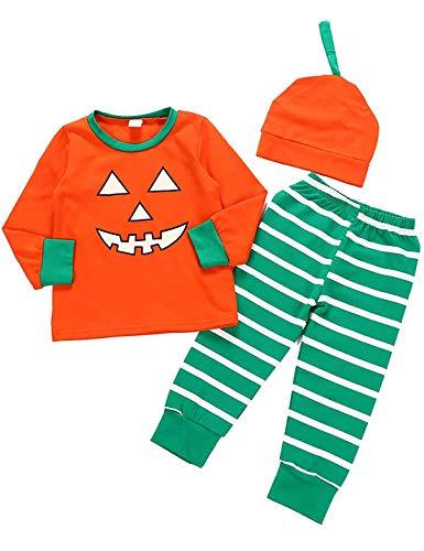Toddler Baby Girls Boys Halloween Clothes Newborn Romper Pumpkin One Piece Pajamas Kid Pant Outfit Set (Toddler Girls Boys Outfit, 3-4T) ()