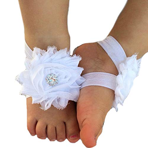 Lebo Baby Barefoot Sandals Baby Shoes Baby Girl Summer Shoes Newborn Sandals White ()