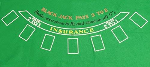 tappeto JUSTSHOPPING Gioco Black Jack Blakjack Verde in Feltro Riutilizzabile E Lavabile