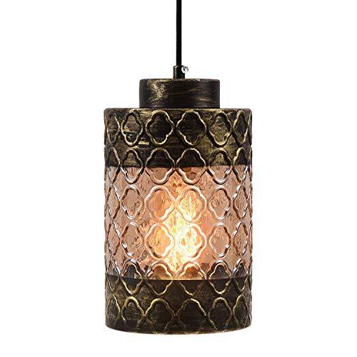 Rustic Pendant Light Hand Blown Glass Shade Hanging Light Fixture, Industrial Edison Vintage Mini Pendant Lighting for…