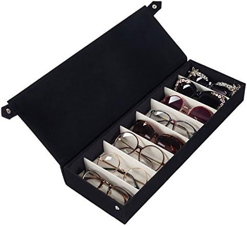 Moldiy Sunglasses Storage Boxes, Black Suede Fabric Sunglass Display Box,Eyeglasses Eyewear Organizer Display Storage Case – 8 Slots