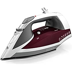 BLACK+DECKER Vitessa Advanced Steam Iron with Retractable Cord, Stainless Steel Soleplate, Granberry, ICR2030