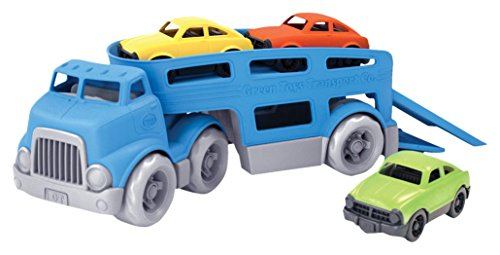 Green Toys Car Carrier Vehicle Set Toy, Blue (Pretend Garage Play)