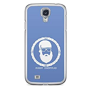 Blue Santa Badge Samsung Galaxy S4 Transparent Edge Case - Christmas Collection