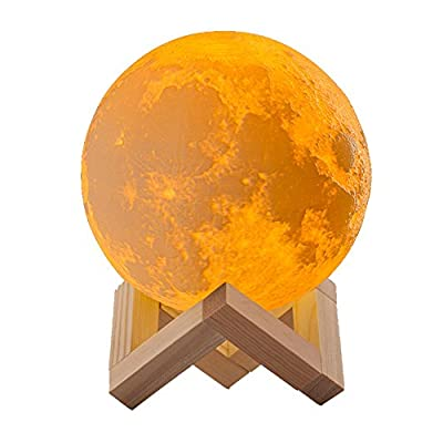 LAWOHO 3D Printing Moon Lamp LED Night Light 5.9Inch 3 Colors Dimmable Vibration Control Bedside Table Lamp Baby Nursery Lamp for Kids Bedroom Home Decorative Birthday Valentine Gift