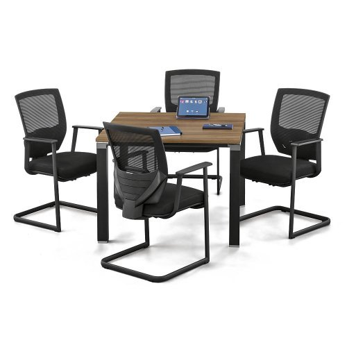 Officient Empire Square Conference Table with Triangular Legs 39''W Light Walnut Laminate/Black Painted Aluminum Legs