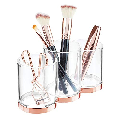 mDesign Plastic Makeup Organizer Storage Cup with 3 Sections for Bathroom Vanity Countertops or Cabinet: Stores Makeup Brushes, Eye and Lip Pencils, Lipstick, Lip Gloss, Concealers - Clear/Rose Gold ()