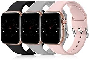 Wepro 3 Stück Armband Kompatibel mit Apple Watch Armband 38mm 42mm 40mm 44mm, Weiche Silikon Ersatz Armband Kompatibel...