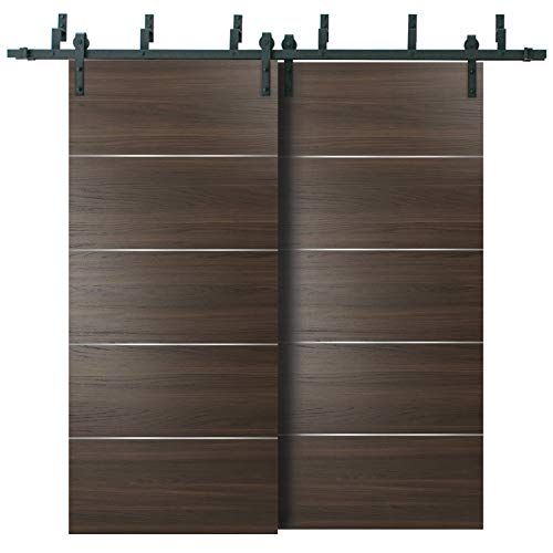 Double Bypass Barn Sliding Brown Doors 84 x 96 with 6.6FT Rails | Planum 0020 Chocolate Ash | Heavy Top Mount 2 Tracks…